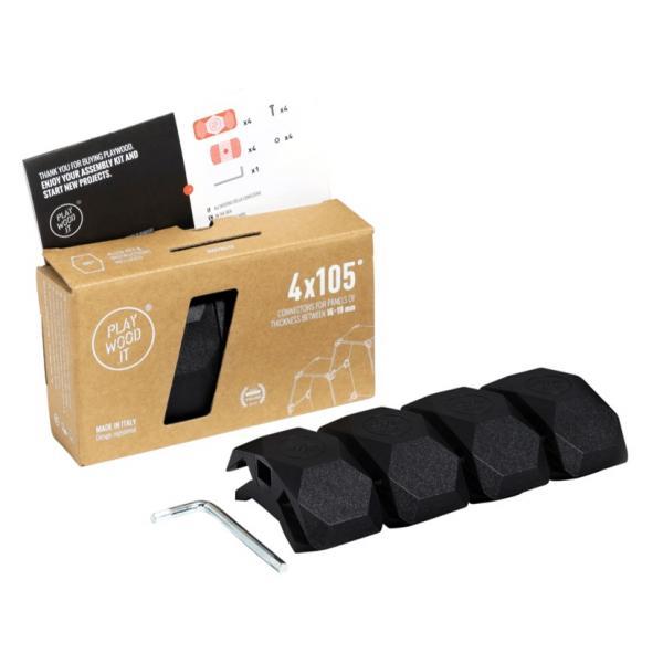 Playwood Kunststoffverbinder 105° SCHWARZ, 4er Pack