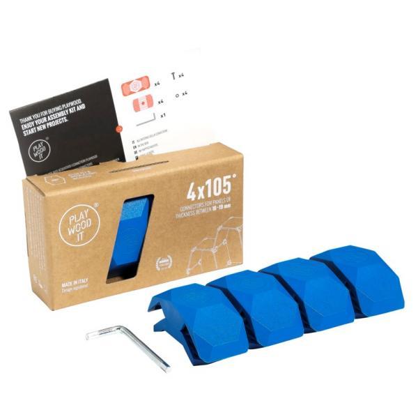 Playwood Kunststoffverbinder 105° BLAU, 4er Pack
