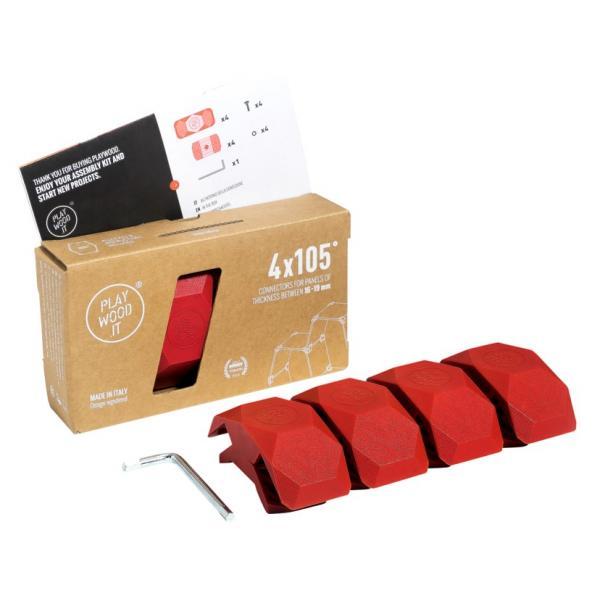 Playwood Kunststoffverbinder 105° ROT, 4er Pack