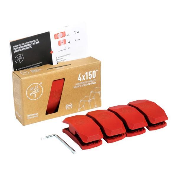 Playwood Kunststoffverbinder 150° ROT, 4er Pack