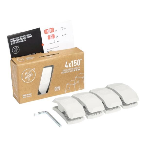Playwood Kunststoffverbinder 150° WEISS, 4er Pack