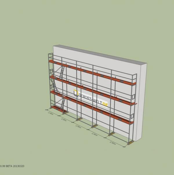 Fassadengerüst Paket Rux Super 65 ALU, 87,5 m², Feldl. 2,5 m