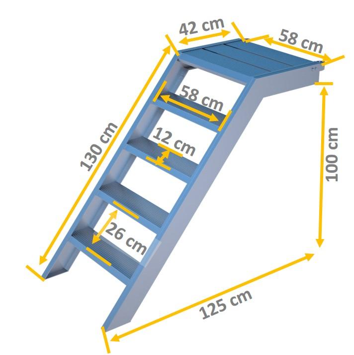alu podest treppe rux ringscaff 1 m mit aufstiegshilfe einseitig ger ste online kaufen. Black Bedroom Furniture Sets. Home Design Ideas